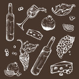 Vector set of sketches beverage and food on a dark background. Wine bottle, wineglass, fruit, piece, the branches the. Vector set of sketches of beverage and Stock Image