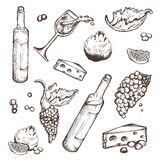 Vector set of sketches beverage and food on a white background. Wine bottle, wineglass, fruit, piece, the branches the. Vector set of sketches of beverage and royalty free illustration