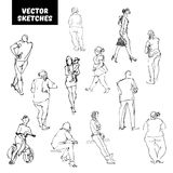 Vector set of sketches. Vector set of design elements. Sketches in ink, people Stock Image