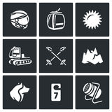 Vector Set of Ski Resort Icons. Helmet, Funicular, Weather, Machine rolling slope, Poles, Mountain, Rescue Dog, Hotel. Winter sports holiday in the highlands and Stock Photography