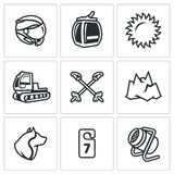 Vector Set of Ski Resort Icons.. Winter sports holiday in the highlands and equipment Royalty Free Stock Images
