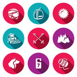 Vector Set of Ski Resort Icons.. Winter sports holiday in the highlands and equipment Stock Image