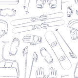 Vector set of Ski and Snowboard equipment pattern. Skiing equipment icons pattern. Set skis and ski poles. Winter equipment icons family vacation, activity or Stock Image