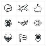 Vector Set of Skydiving Icons. Helmet, Plane, Ready, Time, Skydiver, Ring, Parachute, Landing Place, Wind Direction. Royalty Free Stock Photography