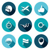 Vector Set of Skydiving Icons. Helmet, Plane, Ready, Time, Skydiver, Ring, Parachute, Landing Place, Wind Direction. Stock Photo