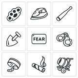 Vector Set of Slavery Icons. Beatings, Torture, Threat, Servitude, Fear, Captivity, Shackles, Cigar, Construction. Royalty Free Stock Photos