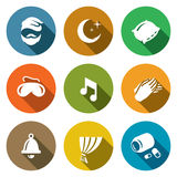 Vector Set of Sleep and Night Rest Icons. Man, Pillow, Mask, Lullaby, Palm, Clock, Curtain, Sleeping Pills. Royalty Free Stock Photos