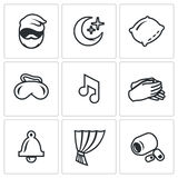 Vector Set of Sleep and Rest Icons. Man, Night, Pillow, Mask, Lullaby, Palm, Clock, Curtain, Sleeping Pills. Royalty Free Stock Photo