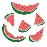 Vector set of slices of watermelon. Drawing by hand. Collection of summer fruits. Art. Stock Images