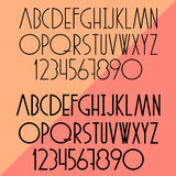 Vector set of slim alphabet and numbers Stock Photo