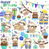 A Vector Set of Sloth Celebrating Birthday with Cakes and Many Gifts royalty free stock photos