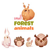 Vector set of small forest cute animals Stock Images