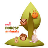 Vector set of small forest cute animals Stock Photography