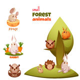 Vector set of small forest cute animals Royalty Free Stock Photography