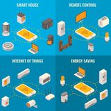 Vector set of smart home concept isometric posters Stock Photo