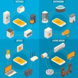 Vector set of smart home rooms concept isometric posters Stock Photos