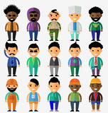Vector set of smiling characters in cartoon style. Flat design Royalty Free Stock Photos