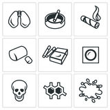 Vector Set of Smoking and Cancer Icons. Trachea, Electronic cigarette, Tobacco, Bad habit Abuse Skull Disease Dyspnea Royalty Free Stock Images