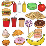Vector Set of Snack Items. Fast Food, Drinks, Dessert and Fruits. Royalty Free Stock Photos