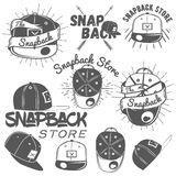 Vector set of snapback store labels in vintage style. Flat cap hats concept illustration Royalty Free Stock Image