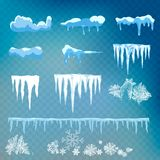 Vector set of snow caps, icicles, snowball and snowdrift isolated on transparent background. Winter decorations. Seasonal elements. Vector set of snow caps royalty free stock photography