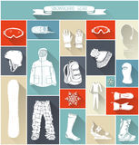Vector set of snowboard gear silhouettes. Stock Photo