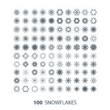 Vector set of 100 snowflake shapes. Vector set of 100 graceful snowflake shapes stock illustration