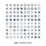 Vector set of 100 snowflake shapes Royalty Free Stock Image