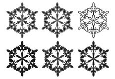 Vector set of snowflake silhouettes Stock Photos