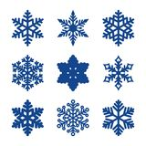 Vector set of 9 paper cut snowflakes Royalty Free Stock Photo