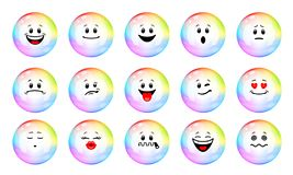 Vector set of soap bubble emoticons. Collection of characters of colorful soap bubble with different emotions in cartoon style on white background. Concept of vector illustration