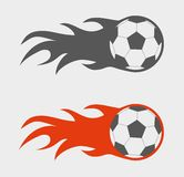 Vector set of soccer balls. On fire Stock Photo
