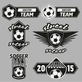 Vector Set Soccer Champions Labels Royalty Free Stock Image