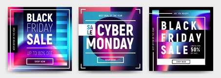 Vector set of 3 social media banners, flyers, poster templates in fluid holography style. Abstract liquid shapes cards for web, e-mail promotion. Business Stock Image