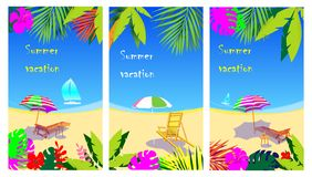 Vector set of social media stories design templates, backgrounds with copy space for text - Summer landscape vector illustration