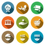 Vector Set of Social Payment Icons. Pension, Child benefit, Grant, Lending, Subsidy, Social nutrition, Homeless, Sick. Pensioner, Baby, Hat, Bank Alms Food Stock Image