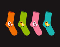 Vector set socks patterned twitter bird Royalty Free Stock Image