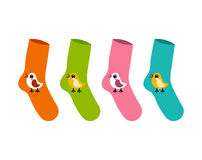 Vector set socks patterned twitter bird on white.  Royalty Free Stock Photography