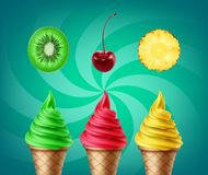 Soft ice cream. Vector set of soft ice cream with kiwi, cherry and pineapple tastes  on green background Stock Images