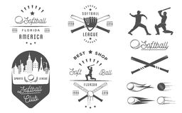 Vector Set Softball Badges and Logos Royalty Free Stock Photo