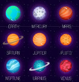 Vector set of solar system planets in cartoon style. Outer space design elements and icons Stock Images