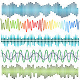 Vector set of sound waves. Audio equalizer. Sound & audio waves. Isolated on white background vector illustration