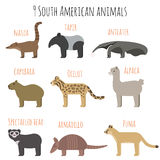 Vector set of South American animals icons. Royalty Free Stock Image