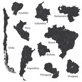 Vector set of south american maps with region borders Royalty Free Stock Photography