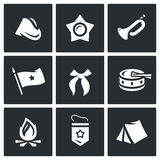 Vector Set of Soviet organization Pioneer Icons. Cap, Oktyabrenok, Trumpet, Banner, Tie, Drum, Bonfire, Pennant, Camp. Stock Photos