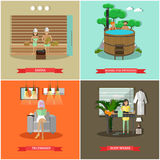 Vector set of spa procedures concept posters in flat style Royalty Free Stock Photography