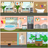 Vector set of spa salon interior concept posters, flat style. Vector set of spa salon interior concept posters, banners. Luxury spa center, resort facilities Stock Photography