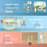 Vector set of spa therapy concept horizontal banners in flat style Royalty Free Stock Photo