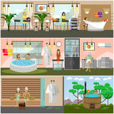 Vector set of spa therapy concept posters, banners, flat style. Vector set of spa therapy concept posters, banners. Body massage, facial treatment, body wraps Royalty Free Stock Image