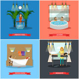 Vector set of spa therapy concept posters in flat style Royalty Free Stock Photos